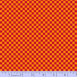 Marcus Fabrics - Go Go Dino R37 9729 0129 red & orange check.Priced per 25cm