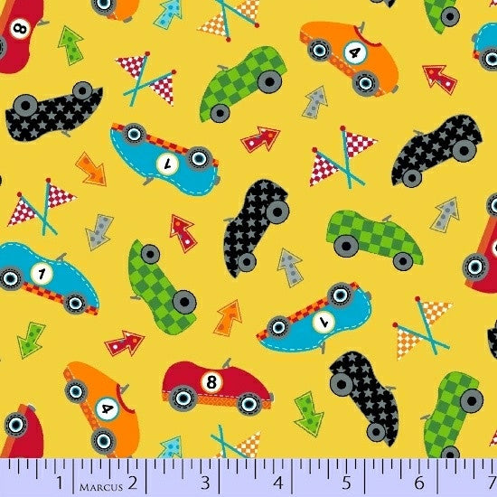 Marcus Fabrics - Go Go Dino R37 9731 0133 Yellow.Priced per 25cm