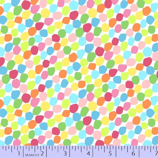 Marcus Fabric  Chasing Waves by Red Brolly - 9739-0146 Multi-Colour dots.Priced per 25cm