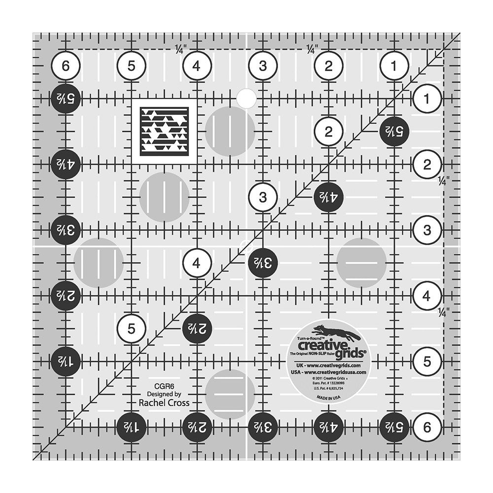 "Creative Grids SQUARE 6.5"" X 6.5"" Ruler CG R6"