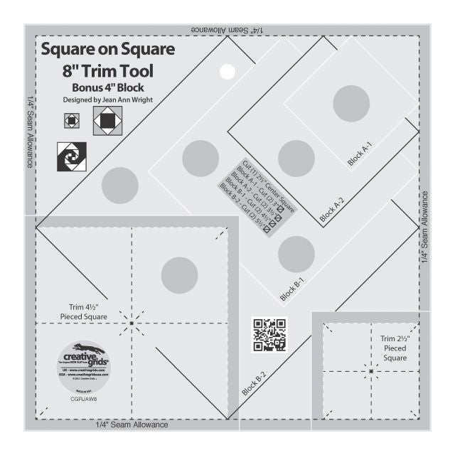 "Creative Grids Square on Square 8"" Trim Tool"
