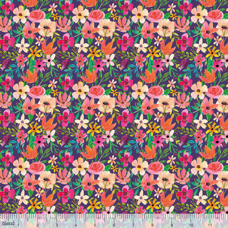 Forest Friends - Floral Mixture Plum 129.104.02.2  by Mai Charro