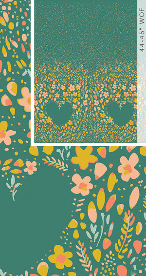 Art Gallery - Garden Dreamer Love Garden Vibrant BORDER PRINT.Priced per 25cm