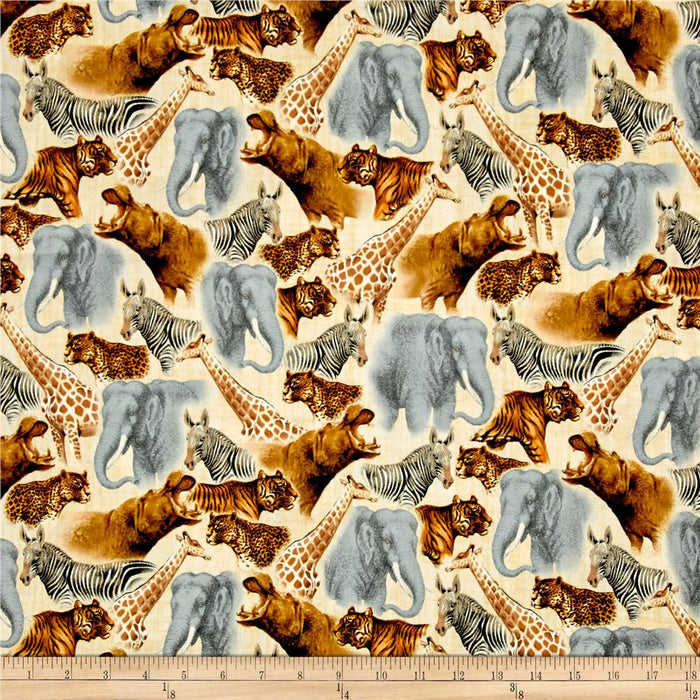 QT - Out of Africa Safari Animals Packed Cream.Priced per 25cm.