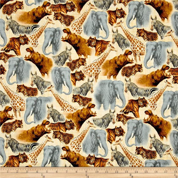 QT - Out of Africa Safari Animals Packed Cream