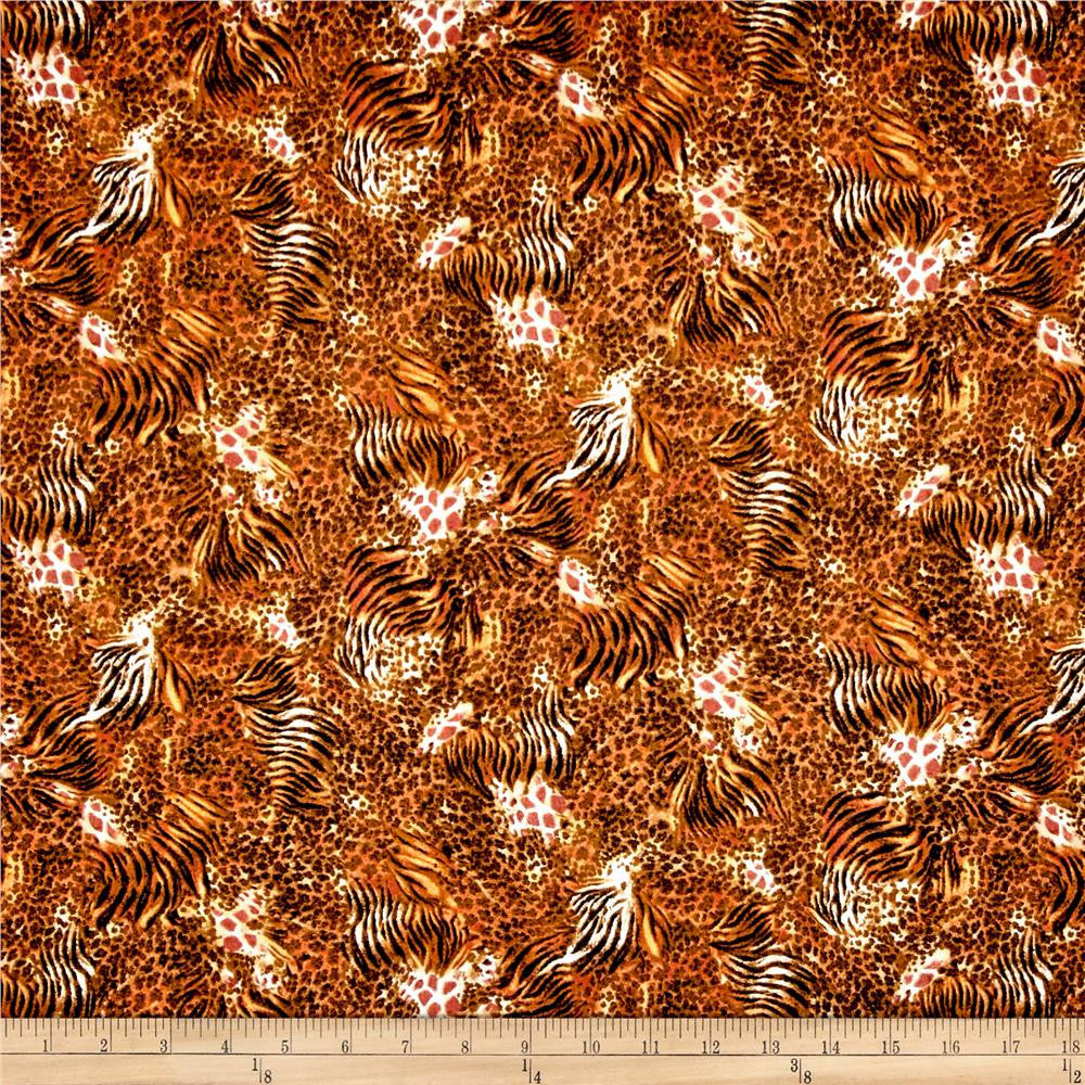 QT - Out of Africa Mixed Animal Skins Burnt Orange.Priced per 25cm.