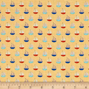 Clothworks - Sail Away Sailboats Gold