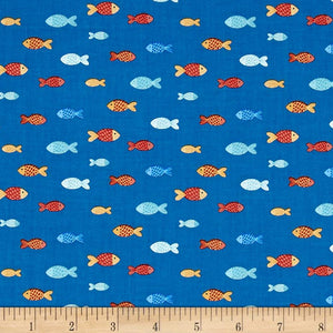 Clothworks - Sail Away Fish Royal Blue.Priced per 25cm