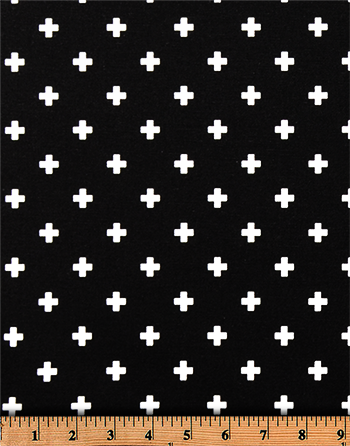 Premier Prints Mini Swiss Cross Black / White