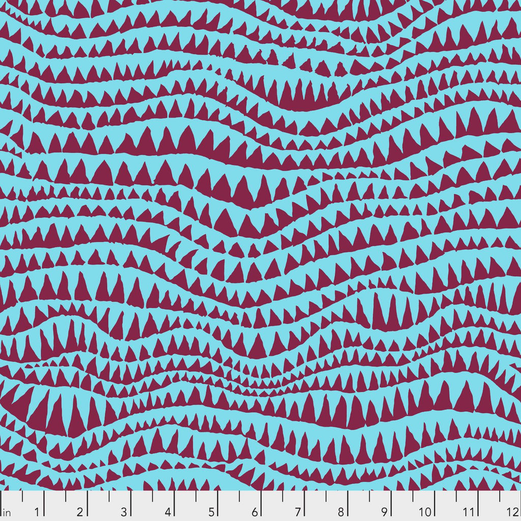 Kaffe Fassett Collective Sharks Teeth Turquoise PWBM060.Priced per 25cm
