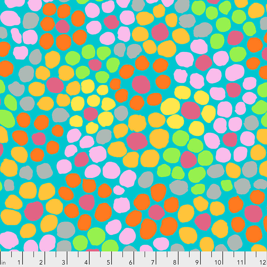 Kaffe Fassett Collective Flower Dot Aqua PWBM077 - Aug 2020.Priced per 25cm