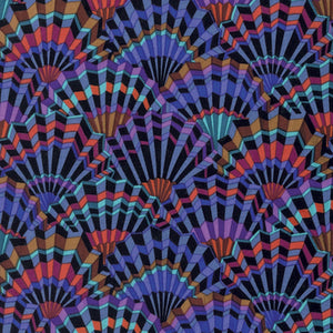 *End of Roll* Kaffe Fassett Collective Paper Fans Black PWGP143 - 1.15 Metres