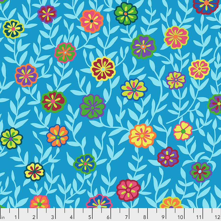 *Pre Order* Kaffe Fassett Collective Busy Lizzy - Blue PWGP175 - Feb 2020.Priced per 25cm
