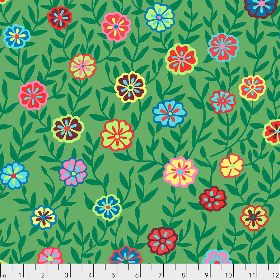 *Pre Order* Kaffe Fassett Collective Busy Lizzy Green PWGP175 - Feb 2020.Priced per 25cm