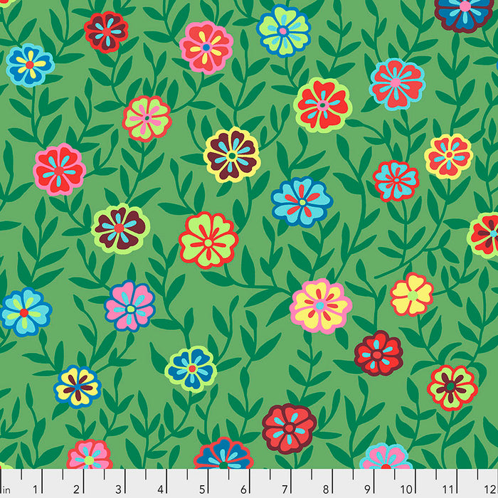 Kaffe Fassett Collective Busy Lizzy Green PWGP175 - Feb 2020.Priced per 25cm