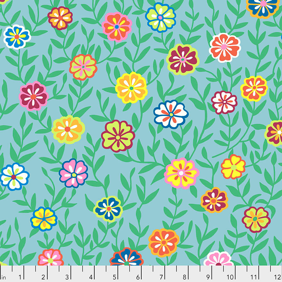 *Pre Order* Kaffe Fassett Collective Busy Lizzy Turquoise PWGP175 - Feb 2020.Priced per 25cm