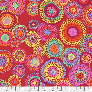 Kaffe Fassett Collective Mosaic Circles Red PWGP176 - Feb 2020.Priced per 25cm