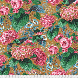Kaffe Fassett Collective Rose and Hydrangea Ochre PWPJ097.Priced per 25cm