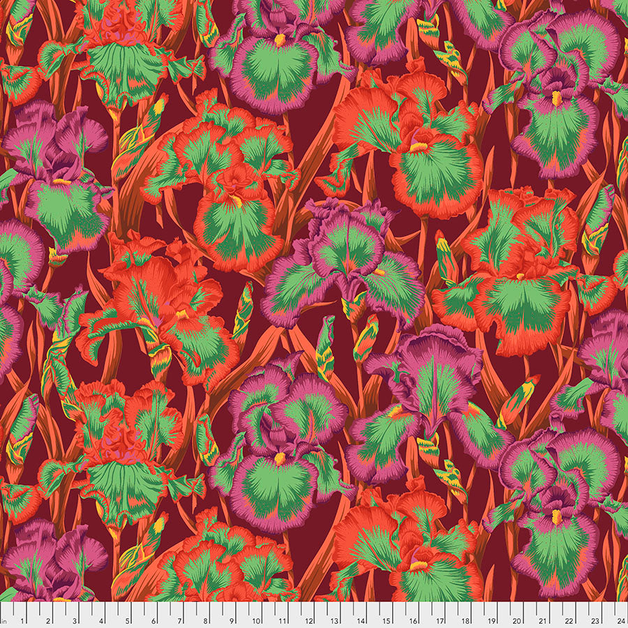 Kaffe Fassett Collective Bearded Iris Red PWPJ105 - Aug 2020.Priced per 25cm