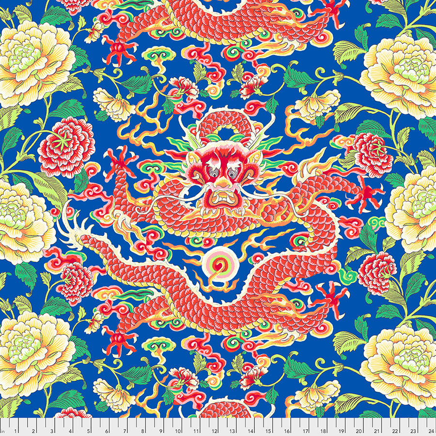 SILK ROAD by Philip Jacobs - Dragon & Peony in Blue PWSL082.Priced per 25CM