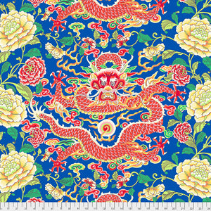 *PRE-ORDER* SILK ROAD - Dragon & Peony in Blue PWSL082.Priced per  25CM-DUE TO ARRIVE LATE JUNE