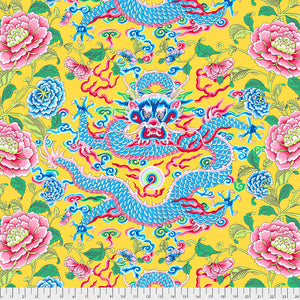 SILK ROAD - Dragon & Peony in Yellow PWSL082.Priced per 25cm
