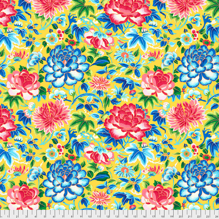 *PRE-ORDER*  SILK ROAD - Ming Embroidery in Yellow PWSL084.Priced per 25cm-DUE TO ARRIVE LATE JUNE