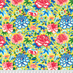 SILK ROAD - Ming Embroidery in Yellow PWSL084.Priced per 25cm
