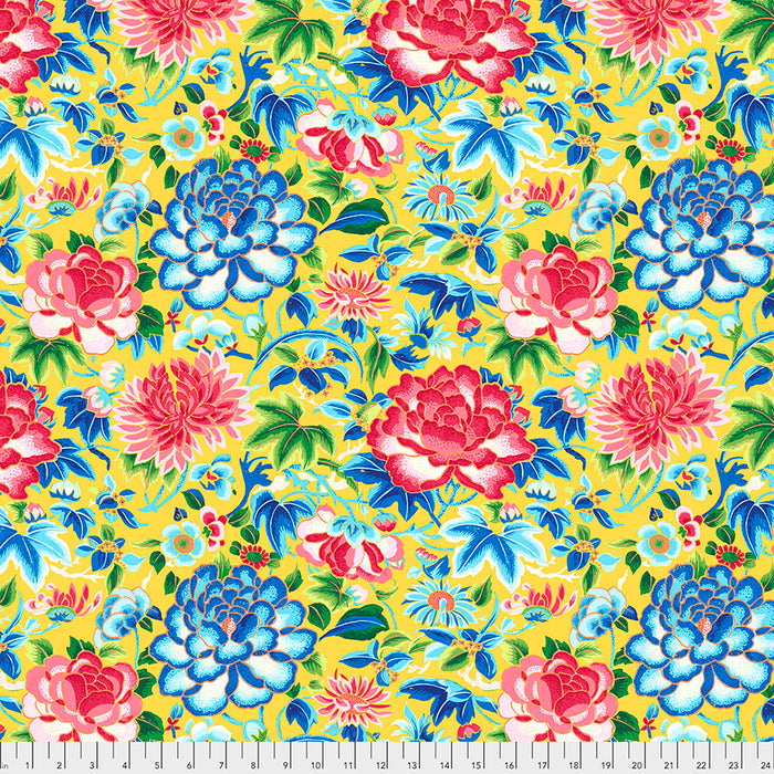 *PRE-ORDER*  SILK ROAD - Ming Embroidery in Yellow PWSL084.Priced per 25cm-NOW DUE TO ARRIVE MID AUGUST