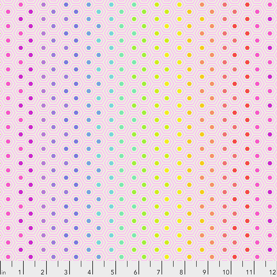 Tula Pink True Colors - Hexy Rainbow - Shell PWTP151 - Priced per 25cm