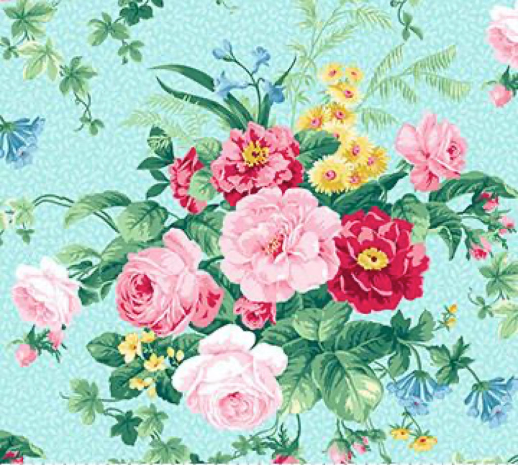 Julia's Garden By Deborah Edwards Large Floral Blue 21607-41.Priced per 25cm.