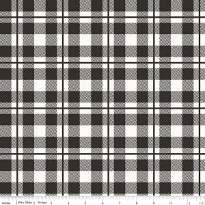 "Riley Blake ""Yes, Please""   C6555—BLACK Plaid.Priced per 25cm."