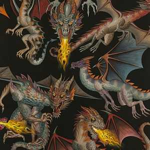 Alexander Henry - Tale of Dragons - 7392A Black.Priced per 25cm