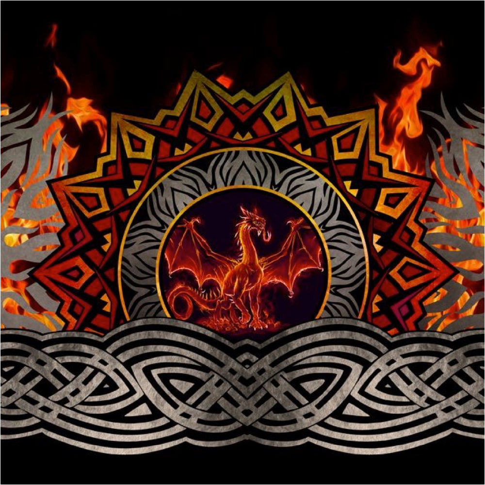 Dragons by Jason Yenter 3DRG-1, Flame Border Print Red.Priced per 25cm.
