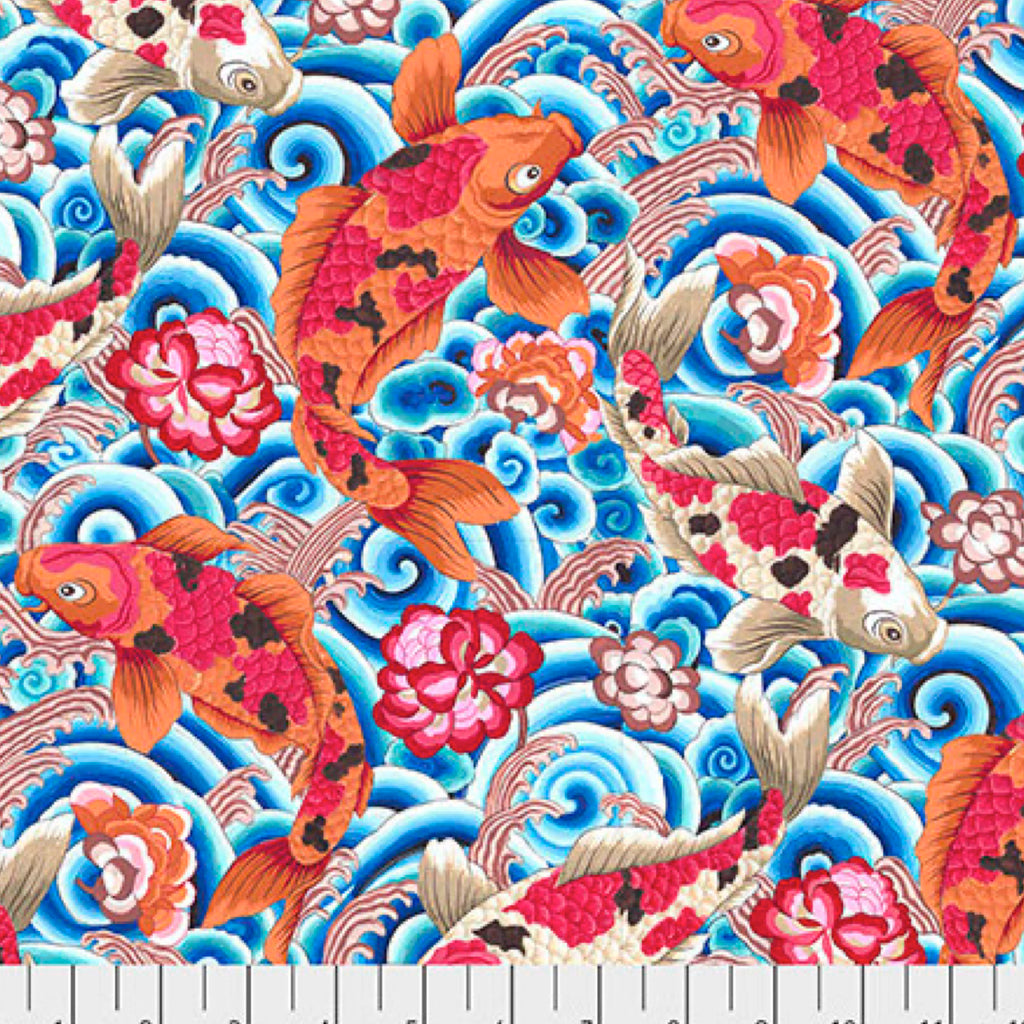 SILK ROAD - Leaping Carp in Blue PWSL086.Priced per 25cm