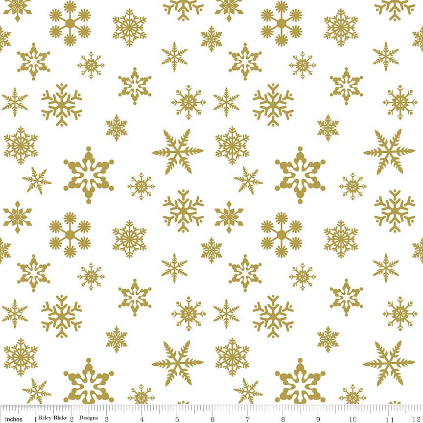 Riley Blake Designs Sparkle Cotton SC566-GOLD snow flake