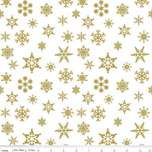 "Riley Blake ""Sparkle Cotton"" SC566-GOLD snow flake.Priced per 25cm."