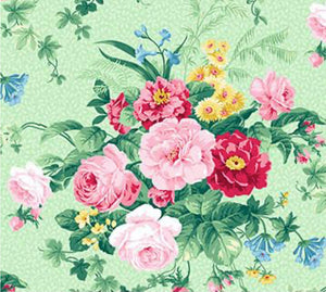 Julia's Garden By Deborah Edwards Large Floral Green  21607-71.Priced per 25cm.