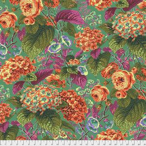 Kaffe Fassett Collective Rose and Hydrangea GREEN PWPJ097 - Spring 2019.Priced per 25cm