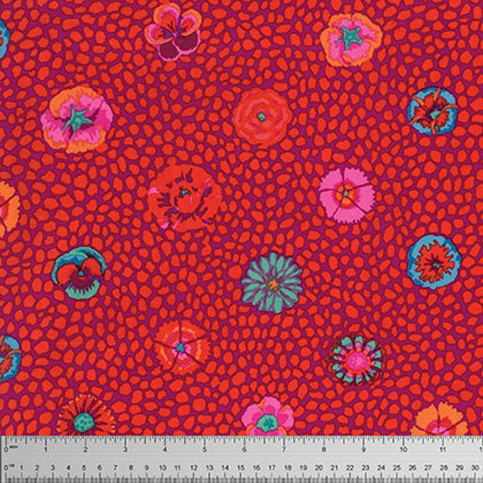 Kaffe Fassett Collective Guinea Flower Red PWGP059.Priced per 25cm