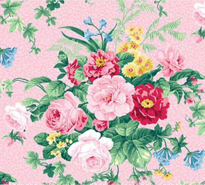 Julia's Garden By Deborah Edwards Large Floral Pink 21607-21.Priced per 25cm.