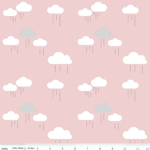 "Riley Blake ""When Skies are Grey"" C5602 Pink - Cloud."