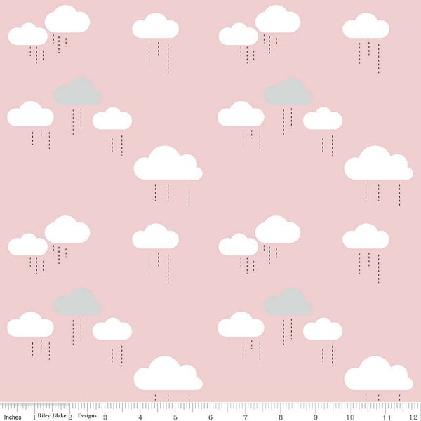 Riley Blake - When Skies are Grey Cotton -C5602 Pink - Cloud.