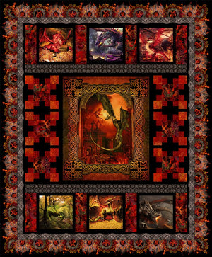 *Dragons by Jason Yenter QUILT KIT RED price discount until 31/10/19