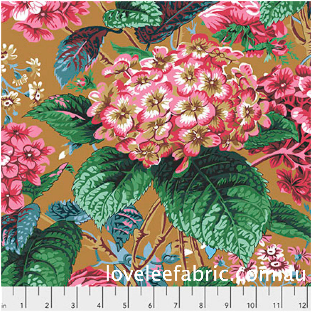 *Pre Order* Kaffe Fassett Collective Rose and Hydrangea Ochre PWPJ097 - Feb 2020.Priced per 25cm
