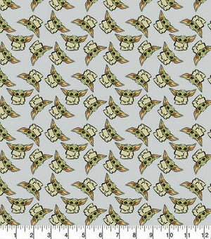 Camelot Fabrics - The Child Tossed Grey (Baby Yoda).Priced per 25cm