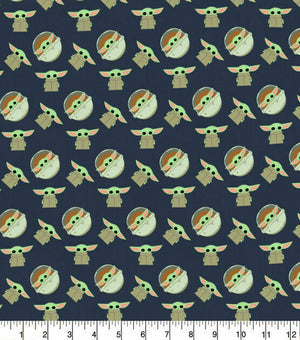 Camelot Fabrics - The Child Navy (Baby Yoda).Priced per 25cm