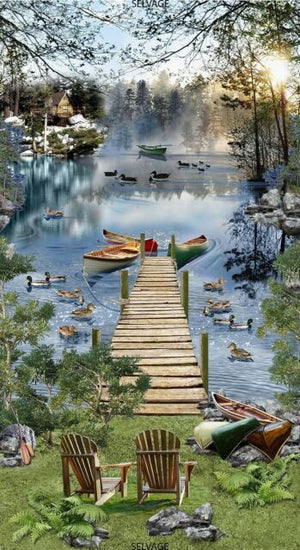 Timeless Treasures - Lakeside Afternoon Lake Chair Dock Bridge.Priced per Panel