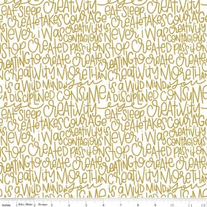 "Riley Blake ""Sparkle Cotton"" SC475-GOLD Text.Priced per 25cm."