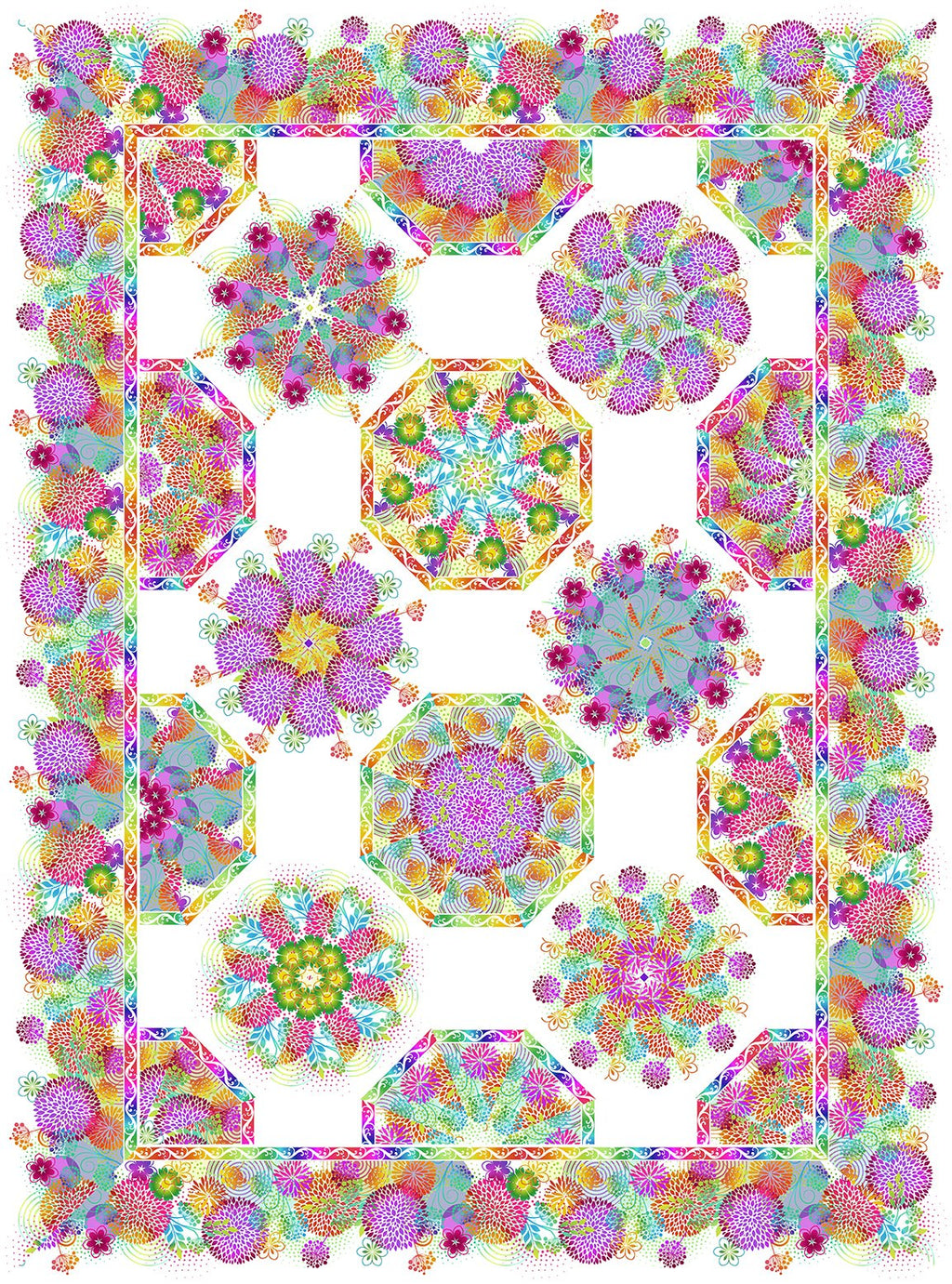 One Fabric Kaleidoscope Pattern - Unusual Garden 11